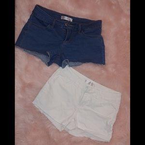 Cutoff shorts Bundle dark wash blue and white